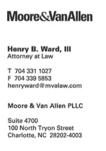 Moore & VanAllen Attorney at law - henryward@mvalaw.com